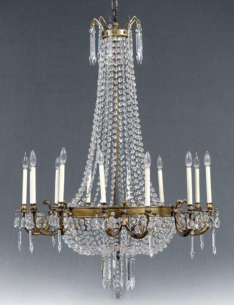 774: Monumental bronze doré chandelier,