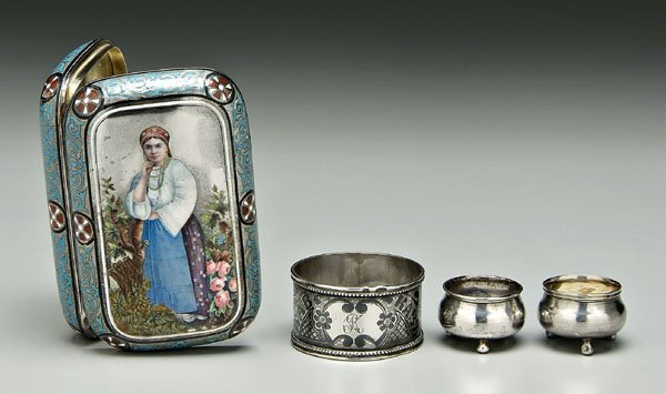 796: Four pieces Russian silver: