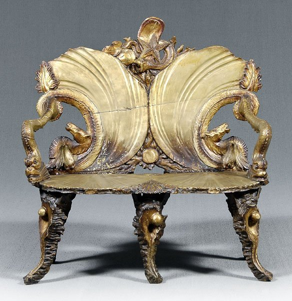 """999: Venetian carved """"grotto"""" settee,"""