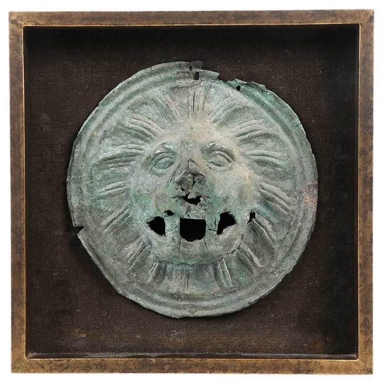 Framed Roman Bronze Lion Head Applique