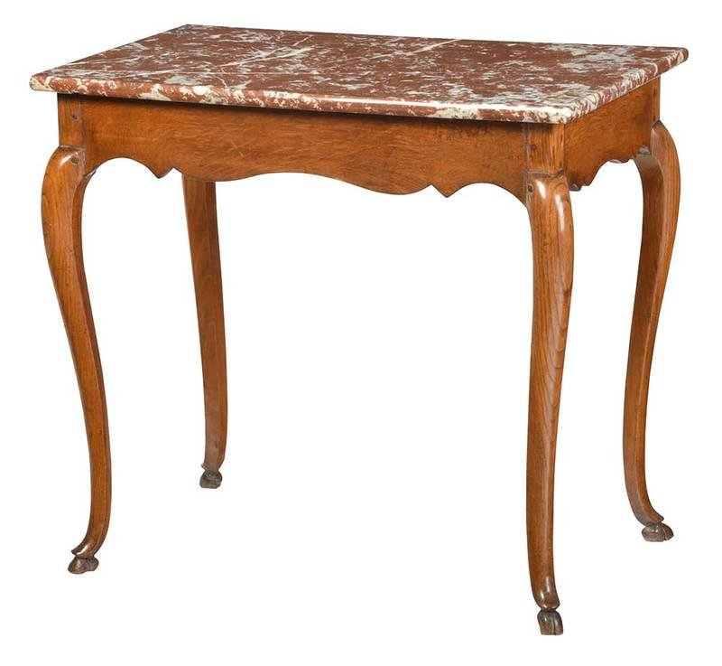 Provincial Louis XV Style Marble Top Table
