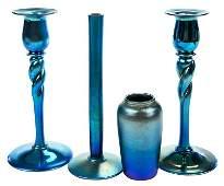 Four Pieces Steuben Aurene Blue Glass