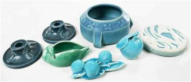 Seven Rookwood Art Pottery Table Items