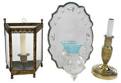 Three Brass and Mirror Lighting Devices