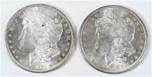 Pair High Grade 1881S Morgan Dollars