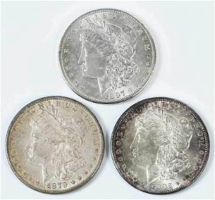Three Uncirculated San Francisco Morgan Dollars