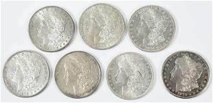 Seven High Grade Morgan Dollars