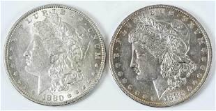 Two 1880O Morgan Dollars
