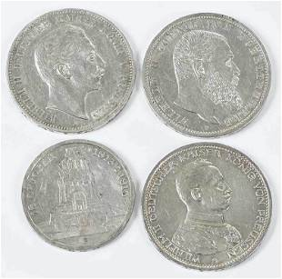 Group of Four Silver German Coins