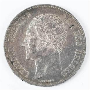 1850 Belgium Five Francs Coin