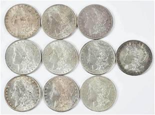 Ten High Grade Morgan Dollars