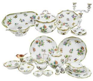 82 Piece Herend Queen Victoria Porcelain Service