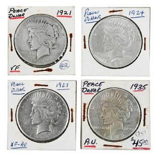 Silver Peace Dollar Partial Coin Set