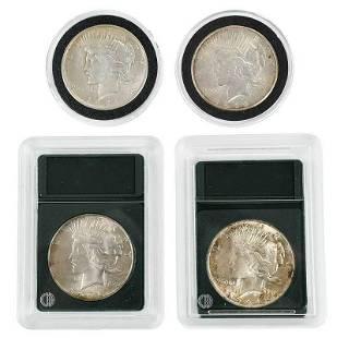 Four Silver Peace Dollars