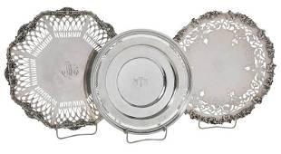 Three Sterling Openwork Plates