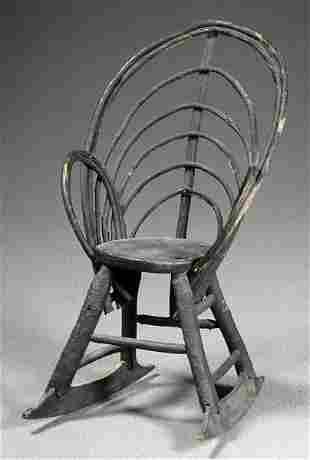 Folk art bentwood twig rocking chair,