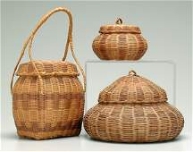 178: Three Cherokee honeysuckle baskets: