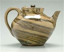 335: Catawba Valley stoneware swirl teapot,
