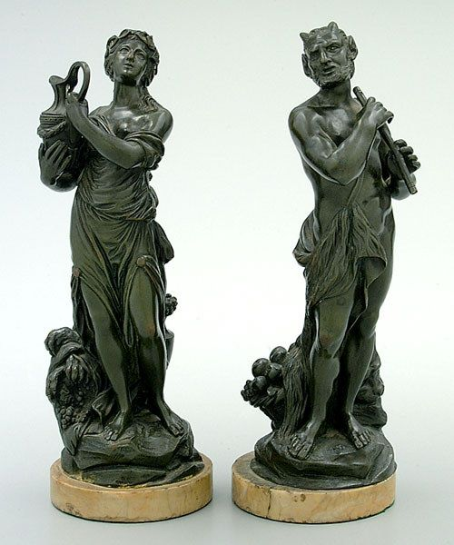 Two bronze figures after Clodion