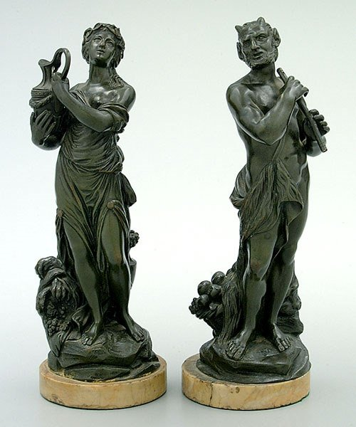 651: Two bronze figures after Clodion: