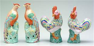 Two pairs Chinese porcelain birds