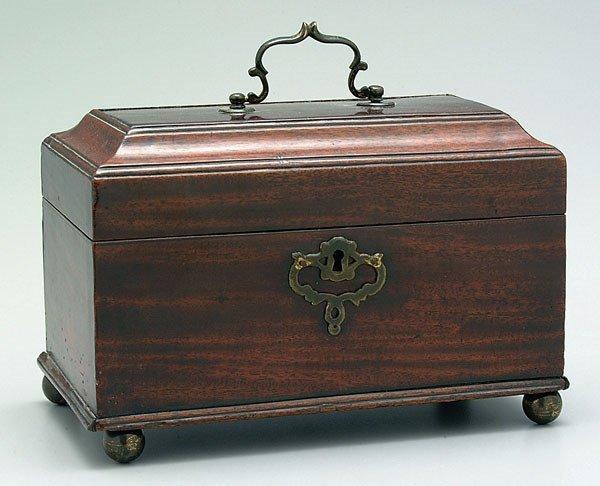 656: English mahogany tea box,