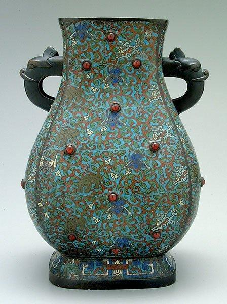 658: Champlevé urn,