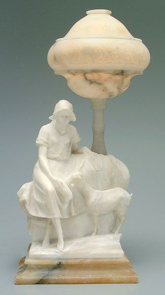 Figural alabaster lamp,