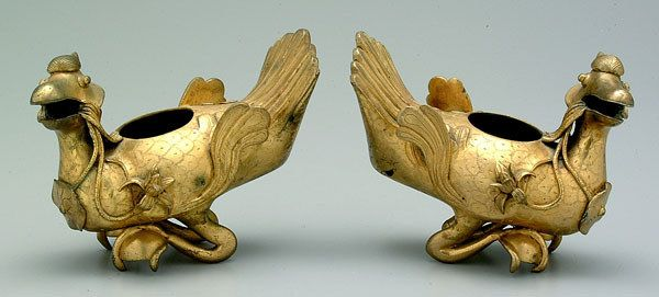 Pair Chinese gilt bronze ducks