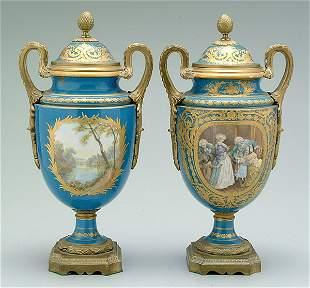 Pair Sèvres urns