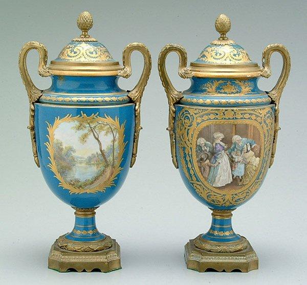 666: Pair Sèvres urns: