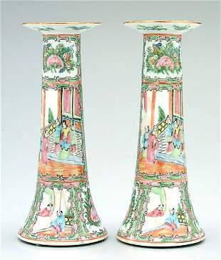 Pair Chinese porcelain candlesticks,