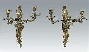 Pair three-cup gilt bronze sconces