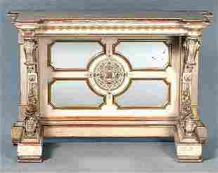 Ornate painted and gilt pier table,