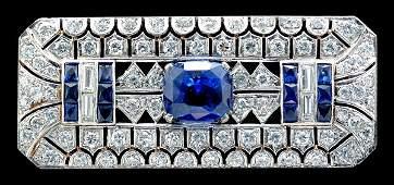 903: Sapphire and diamond brooch,