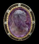 905: Antique amethyst cameo pin,
