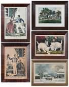 Five Currier and Ives Prints Framed