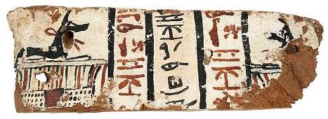 Egyptian Polychromed Gesso on Wood Stele Fragment