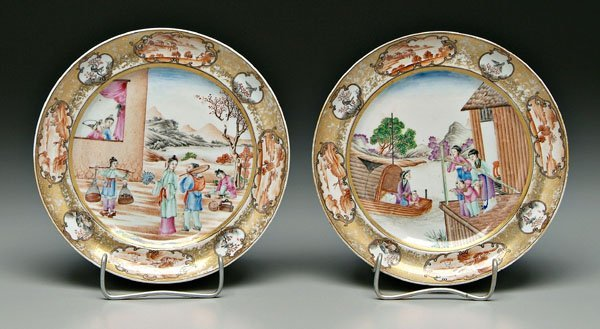 1: Two Chinese export plates: