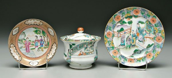 2: Three pieces Chinese export porcelain: