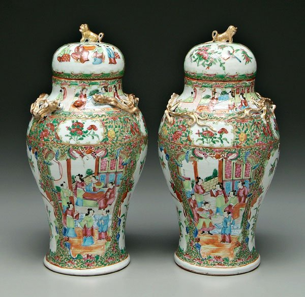 13: Pair Chinese [famille rose] jars:
