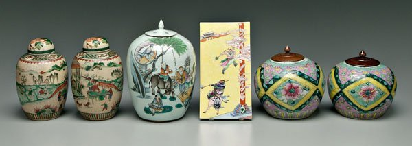 15: Six pieces Chinese porcelain: