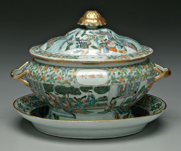 17: Chinese export [famille verte] tureen,