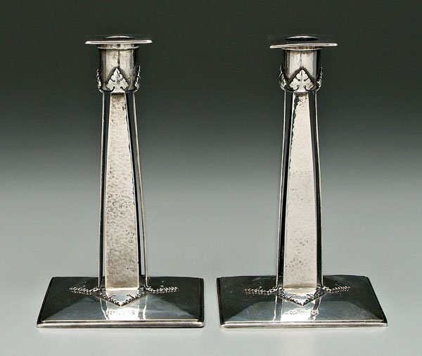 432: Pair Tiffany sterling candlesticks: