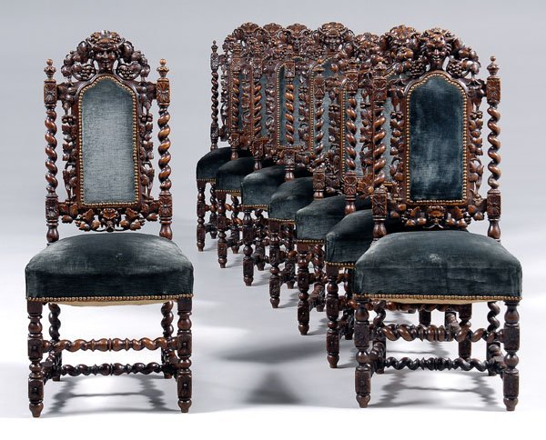 577: Set of eight Bacchus dining chairs: