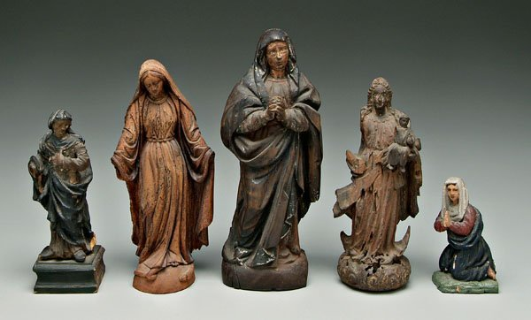 587: Five Spanish Colonial carved figures: