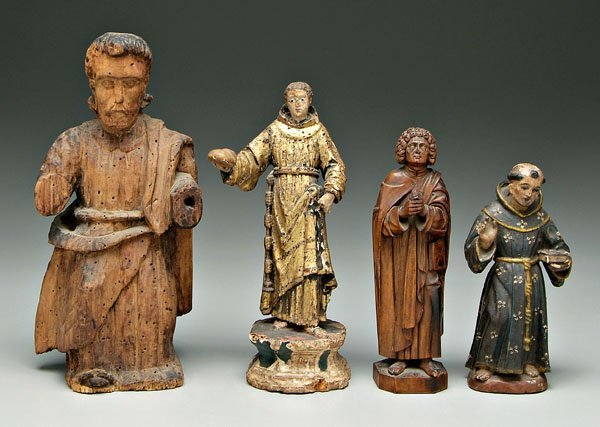 593: Four carved religious figures,