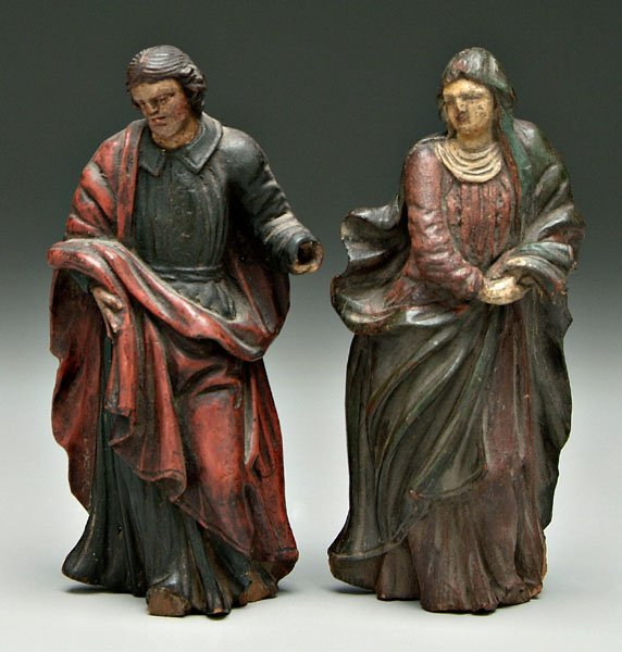 595: Two Spanish Colonial carved figures: