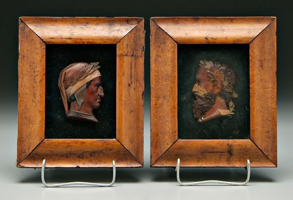 597: Two 19th century laureate wax profiles