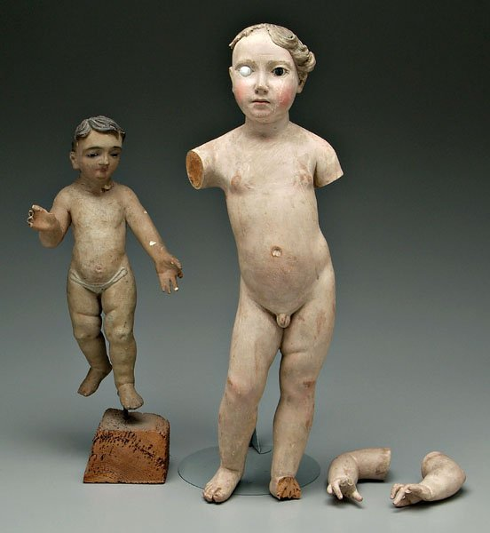 598: Two Italian Baroque carved figures,